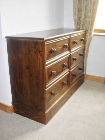 Deanery Brosna 6 Drawer Pine Walnut Stain Ches