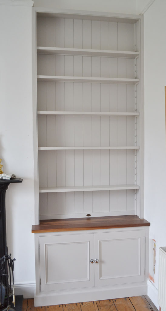 DBD4002 - Deanery Fitted Shelving Bookcase with Walnut Top and hand-painted finish