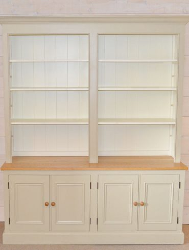 Deanery 6ft Charlotte Rose Oak Top Bookcase with hand-painted finish
