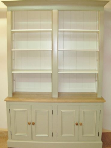 Deanery 5ft charlotte Rose Oak Top Bookcase with hand-painted finish