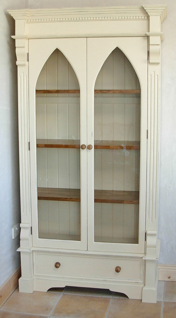 Deanery Gothic Glazed Door Bookcase with Distressed hand-painted finish