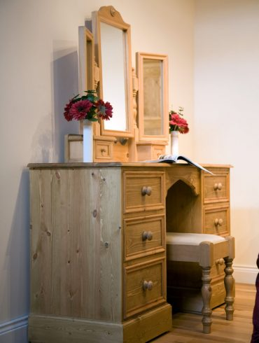 Deanery Brosna Pine Dressing Table with Mirror and Stool with hand-wax finish