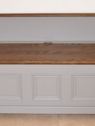 Deanery Low Monksbench with Hardwood Top and hand-painted finish