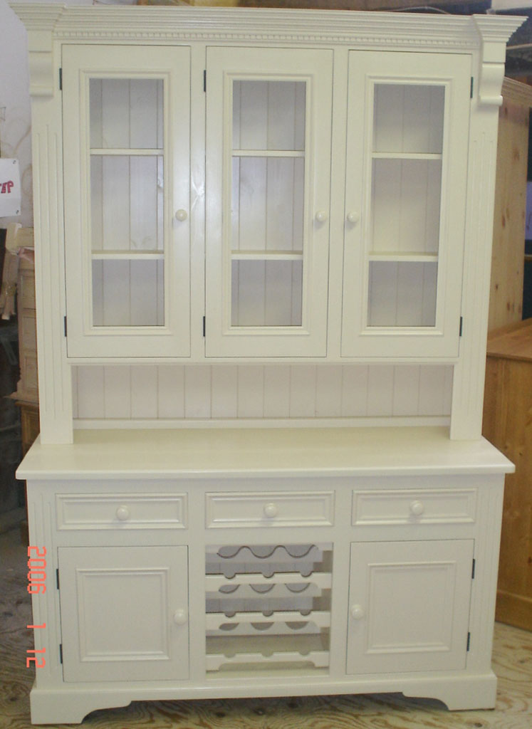 Deanery 5ft Cottage Dresser with Wine Rack and hand-painted finish