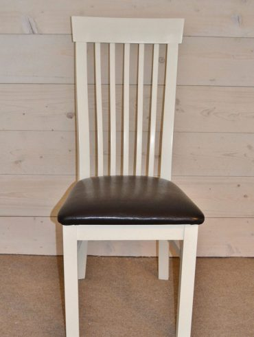 Cambridge Hardwood Chair. Hand-painted with Cream or Black Leather Seat
