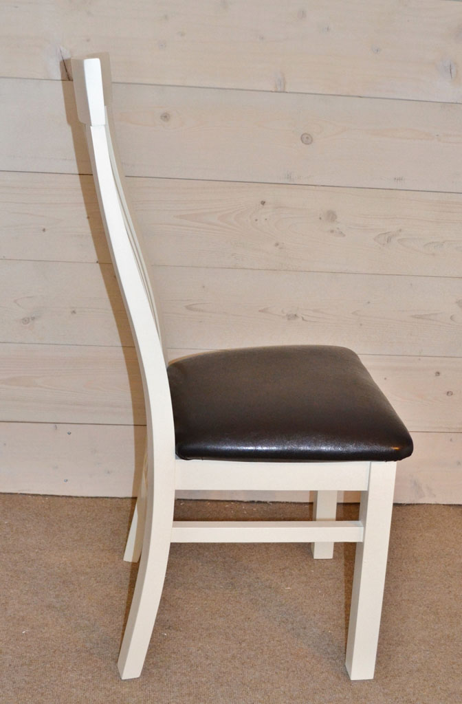 DCH3201 - Cambridge Hardwood Chair. Hand-painted with Cream or Black Leather Seat