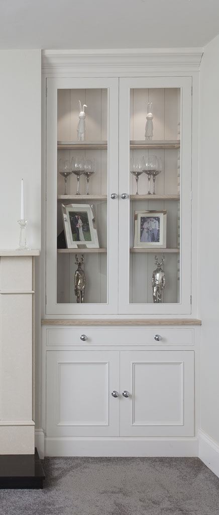 Alcove Fitted Glazed Door Display Cabinet with Fuel Box Drawer