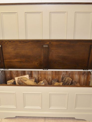 Kingston Drawer-Door Fuel Box Cabinet with Dark Pine Top and hand-painted finish