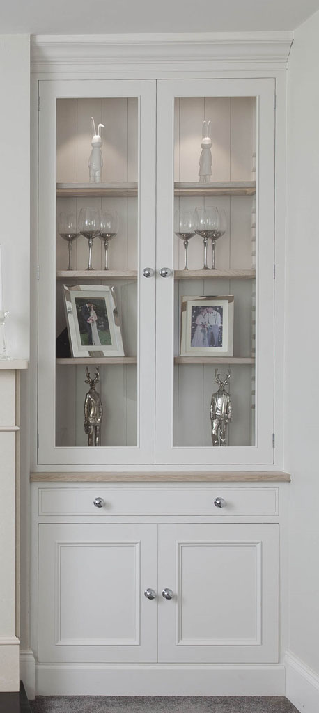 DFF2001 - Deanery Display Cabinet with Oak Frame Glass Shelving, Oak Top and Pull out Fuel Drawer