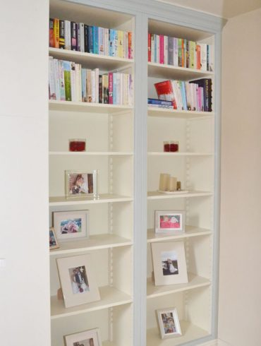 Deanery Bespoke 2 Bay Bookcase with Adjustable Shelving and hand-painted finish