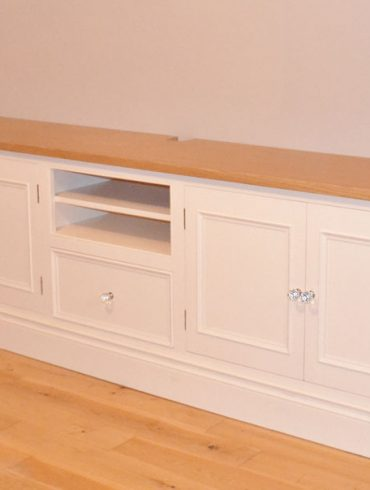 Deanery Alcove Oak Top TV Cabinet with hand-painted finish