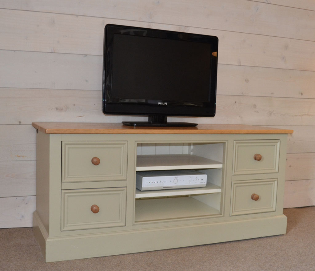 DMC4419 - Deanery provence Oak Top, Oak Knob TV Cabinet with hand-painted finish