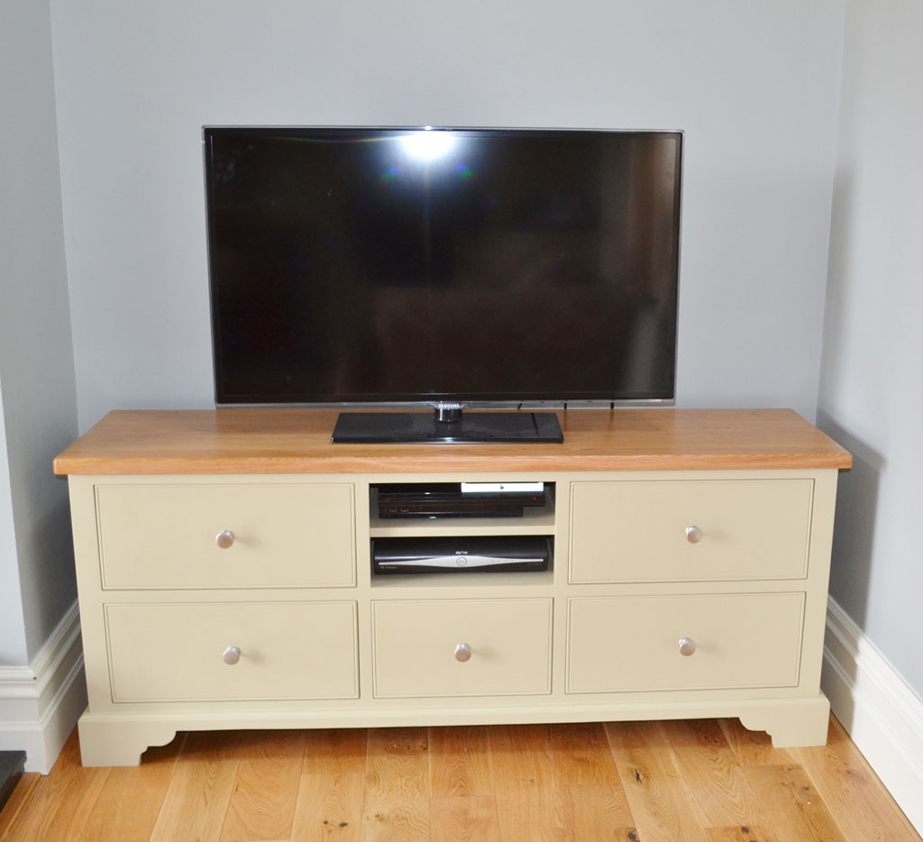 Deanery Provence Large Drawer Oak Top TV Cabinet with hand-painted finish