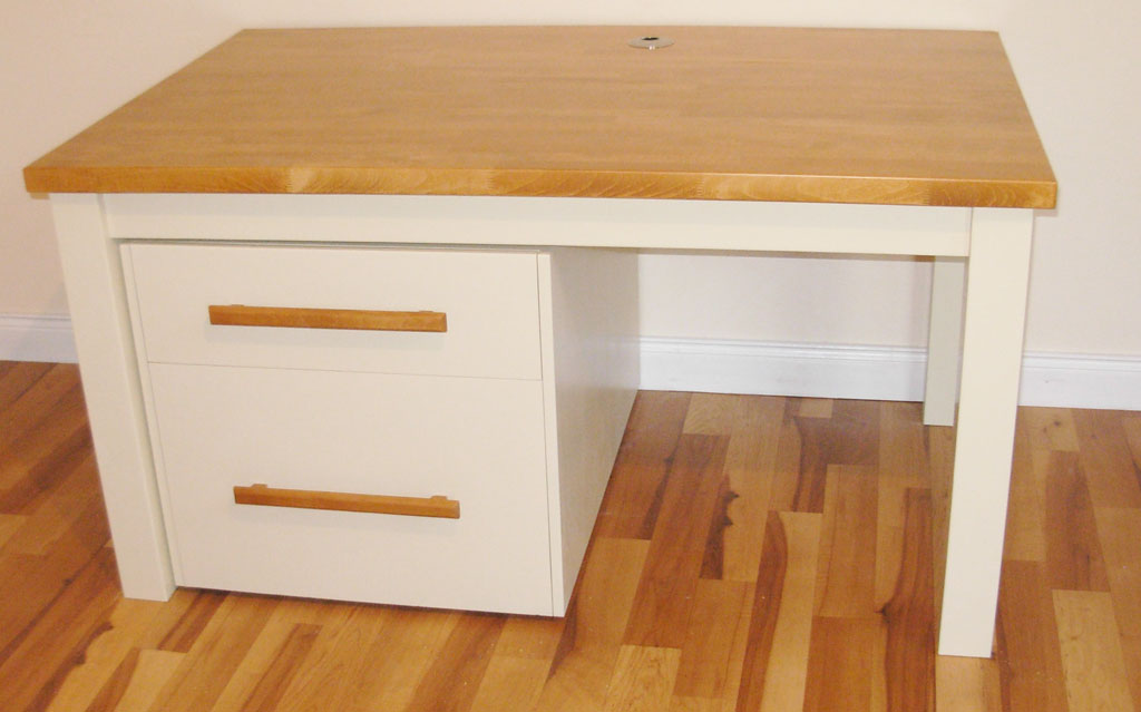 Deanery Bespoke Beech Top Computer Desk with Removable Suspension File Drawer System