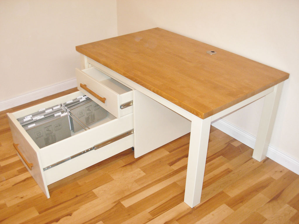 DOF7508 - Deanery Bespoke Beech Top Computer Desk with Removable Suspension File Drawer System