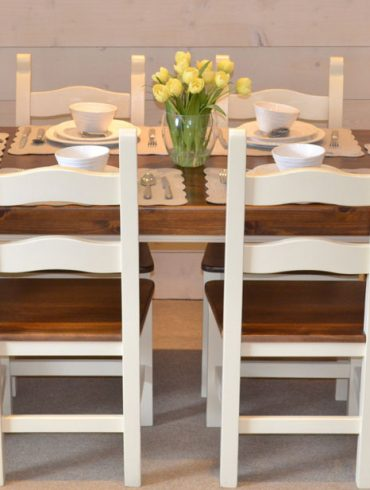"""Deanery Farmhouse Table with 3"""" thick Pine Top Table with hand-painted finish"""