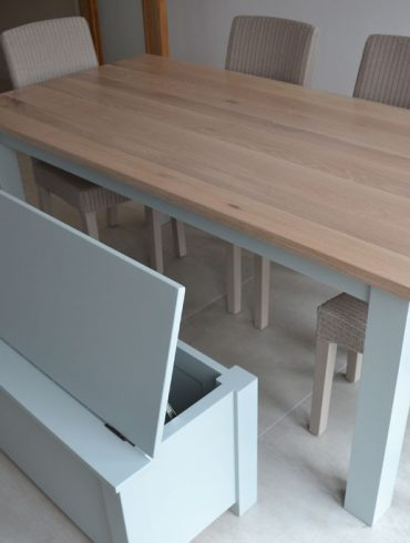 Deanery Woodford Weathered Oak Top Table, hand-painted base with Bench