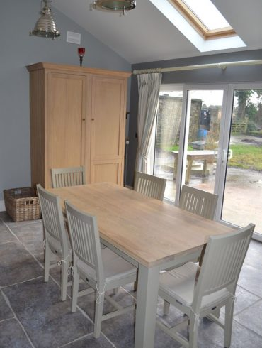 Deanery Woodford 6ftx3ft Solid Oak Top Table with hand-painted finish