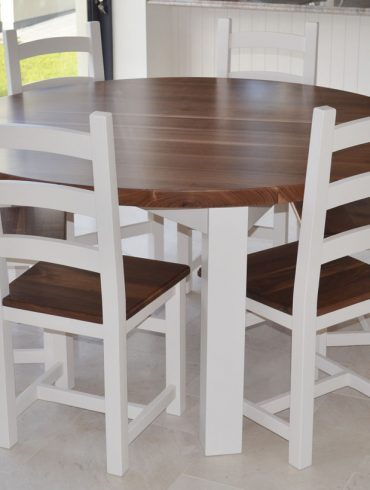 Deanery 5ft Solid Walnut Round Table Top with 3 Legs and hand-painted base