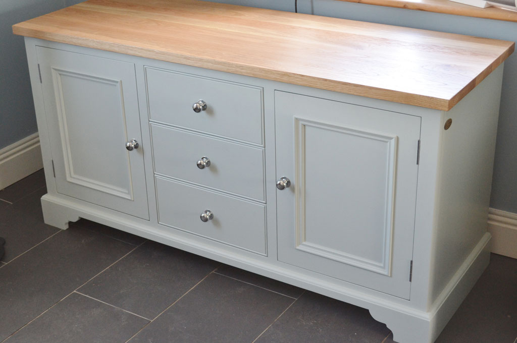 Deanery Low Sideboard with Oak Top and hand-painted finish