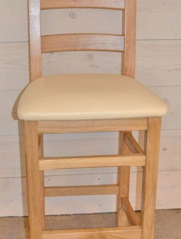 Crofter Hardwood Bar Stool, Seat choice: Solid Oak/Cream Leather/Black Leather