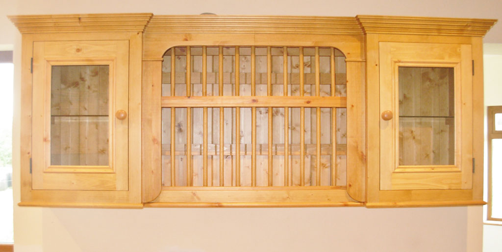 Deanery Pine Glazed Door Plate Rack