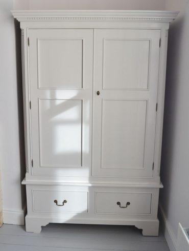Georgian Double Wardrobe, hand-painted in F&B Cornford White