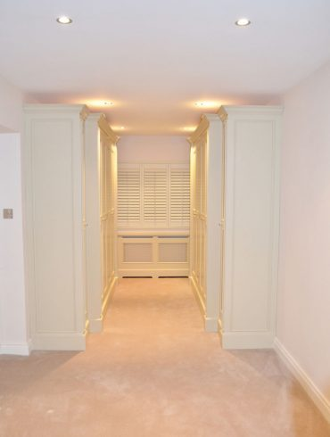 Deanery Bespoke In-frame, Butt-hinged Fitted Wardrobes, hand-painted in F&B Paint