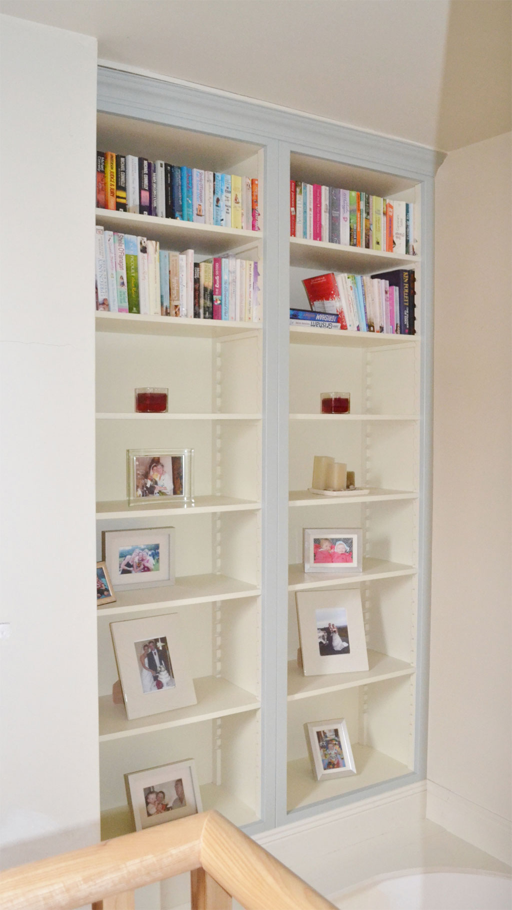 Deanery Fitted 2 Bay Bookcase Cabinet with adjustable Shelving and hand-painted finish