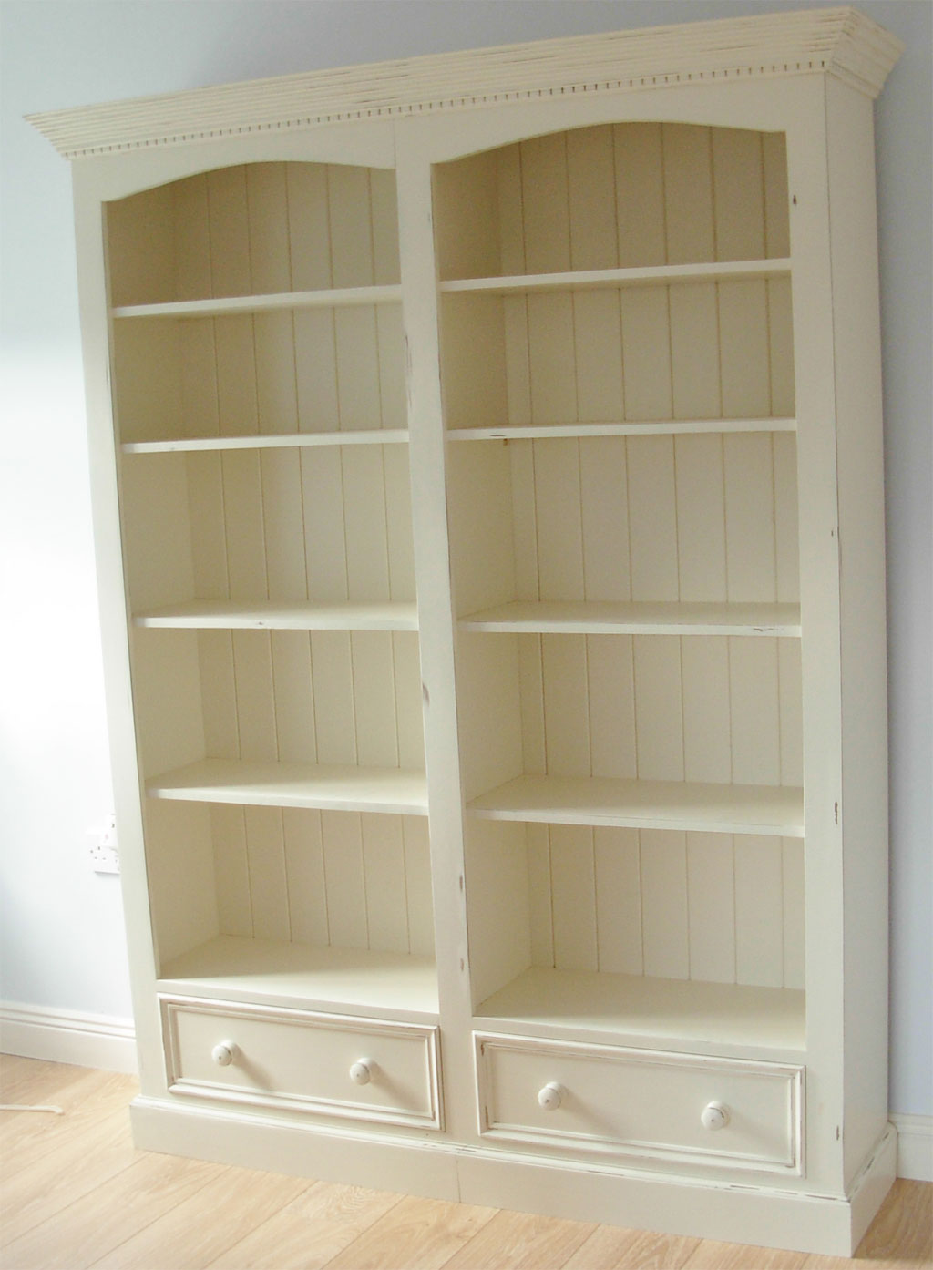 Deanery Classic 2 Bay 2 Door Bookcase with Distressed Hand-painted finish