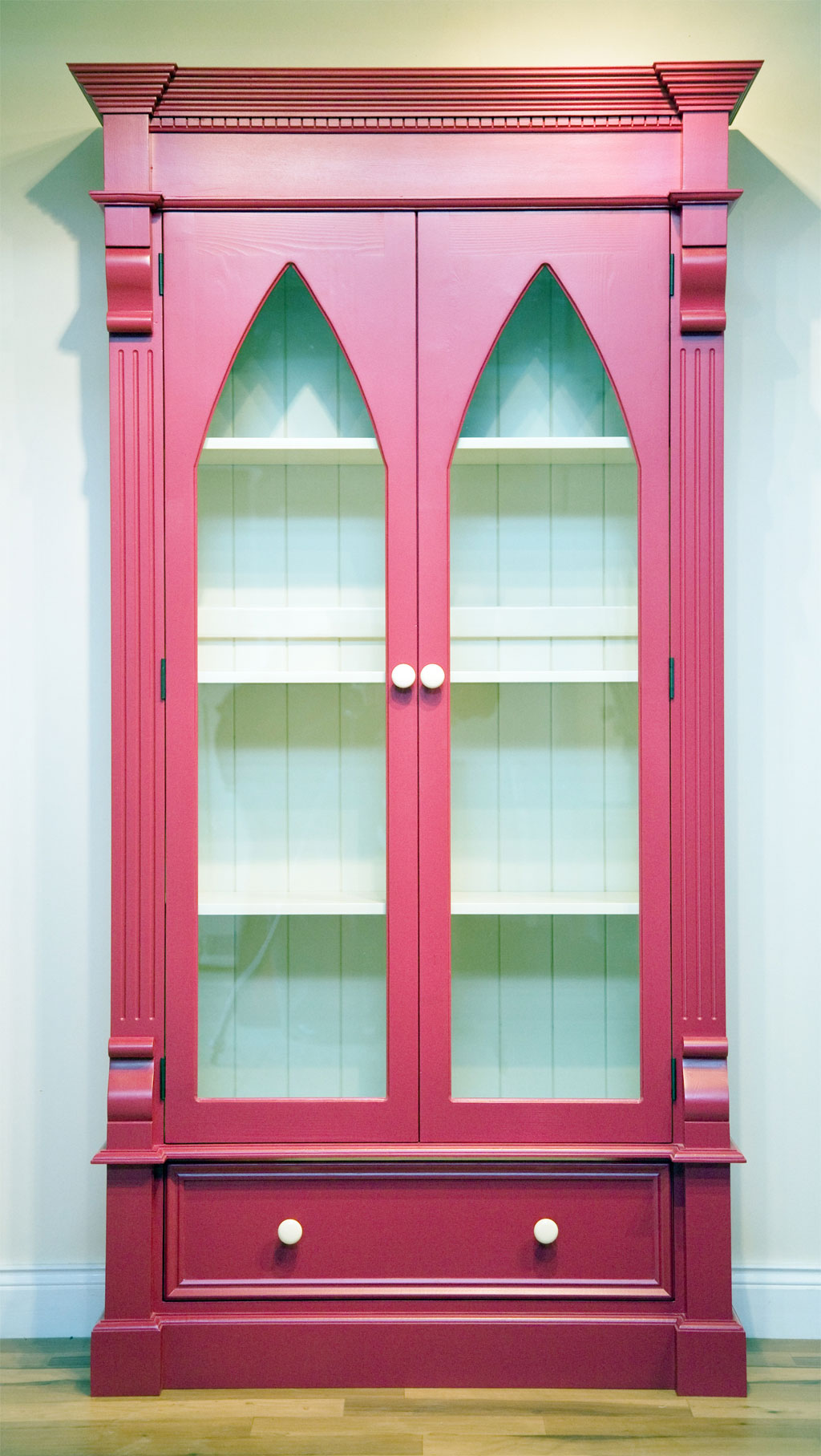 Deanery Gothic Glazed Door Bookcase with hand-painted finish