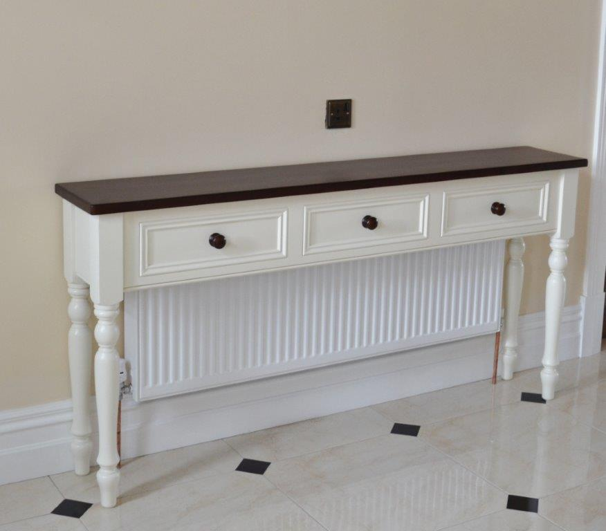 Deanery Hall Table Radiator Cover with Dark Stain Pine Top and Knobs