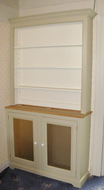 Deanery Dresser 2 Brass Door Grill Oak Top Radiator Cover with hand-painted finish