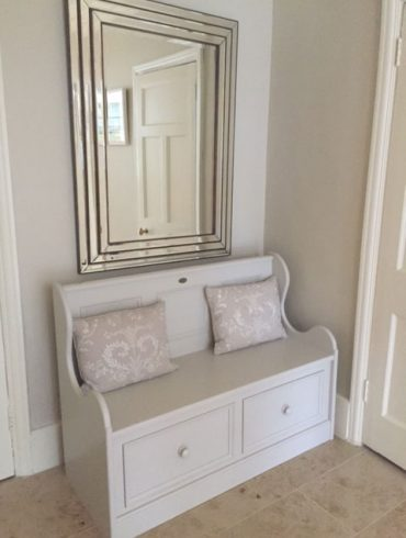Deanery Small 2 Drawer Monks Bench with hand-painted finish