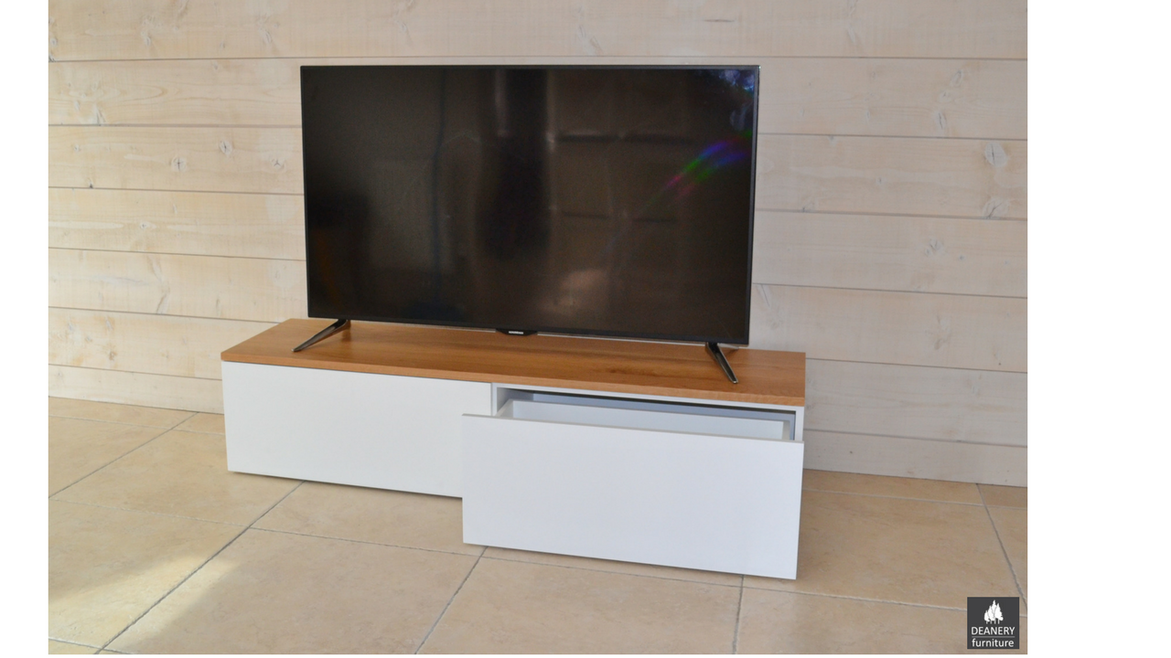 Deanery contemporary low tv unit deanery furniture for Contemporary tv media units